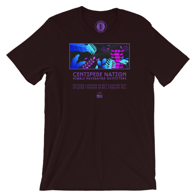 Outside Looking In But Looking Out Tee by Centipede Nation – Color: Bioluminescence