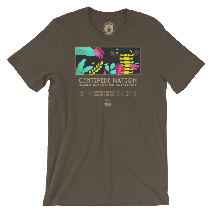Outside Looking In But Looking Out Tee by Centipede Nation – Color: Bloom